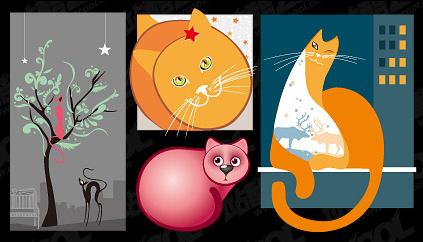 Lovely cat vector illustration material Free CDR Vectors Art