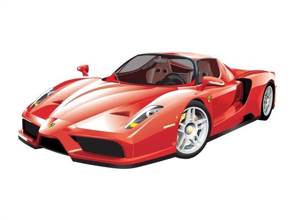 Red luxury sports car vector illustration Free CDR Vectors Art
