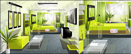 View the living room of material elements Free CDR Vectors Art
