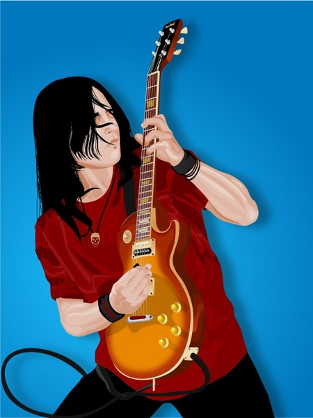 Guitar player Free CDR Vectors Art