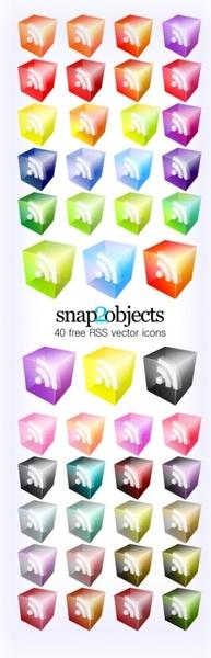 RSS Icons Translucent 3D Look  Free CDR Vectors Art