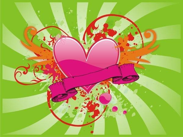 Retro banner template heart ribbon design rays background Free CDR Vectors Art