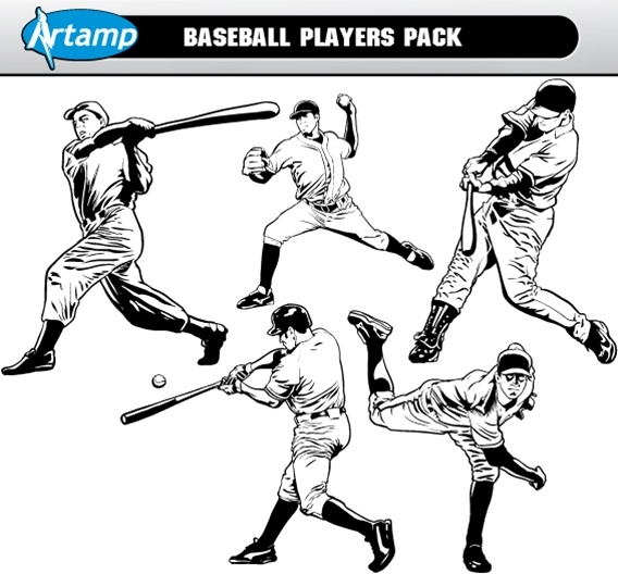 Base Ball Players Vector Pack Free CDR Vectors Art