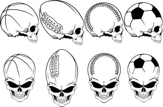 Sports Skulls Pack Free CDR Vectors Art