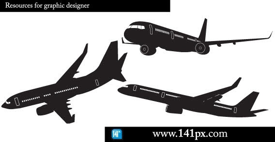 Airplane silhouettes Free CDR Vectors Art