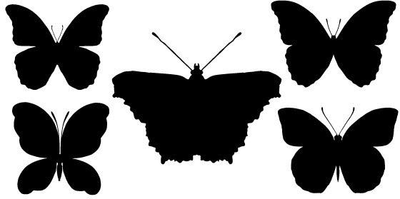 Black Butterfly silhouette Free CDR Vectors Art