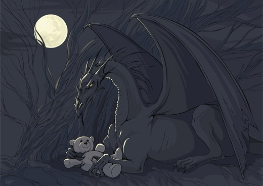 Dragon with Teddy Free CDR Vectors Art