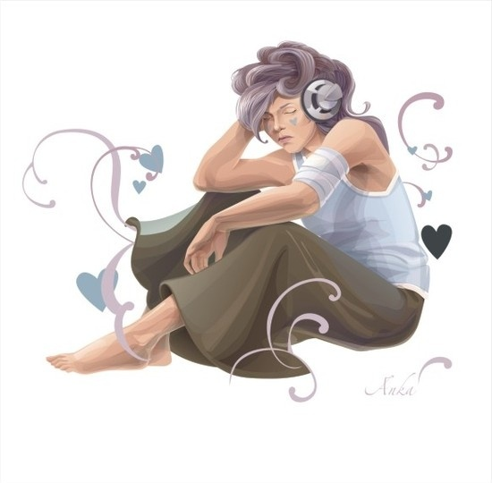 Woman Listening To Music Free CDR Vectors Art