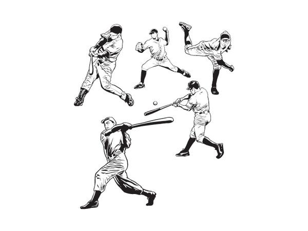 Baseball Players Free CDR Vectors Art