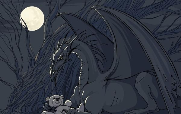 Dragon and Teddy Free CDR Vectors Art