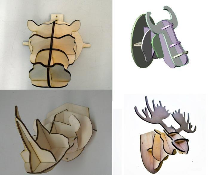 4 Animal Head 3D Puzzle 4mm Free CDR Vectors Art
