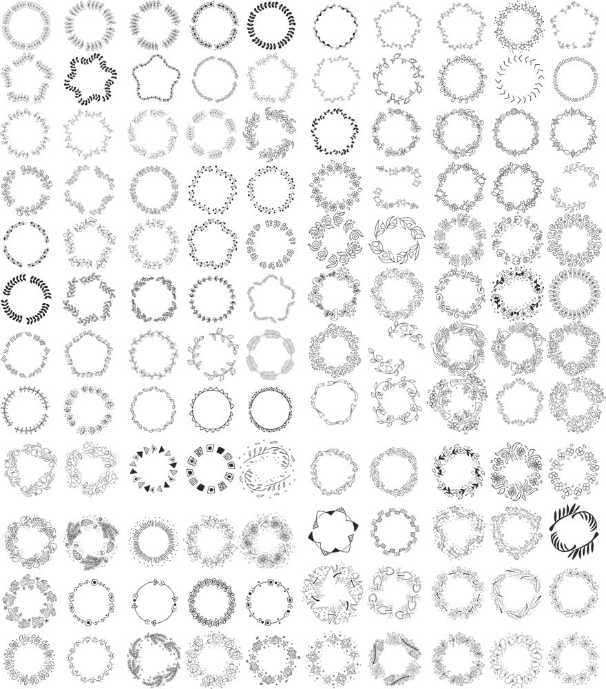 Hand Drawn Wreath Frame Free CDR Vectors Art