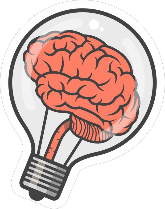 Brain Bulb Sticker Free CDR Vectors Art