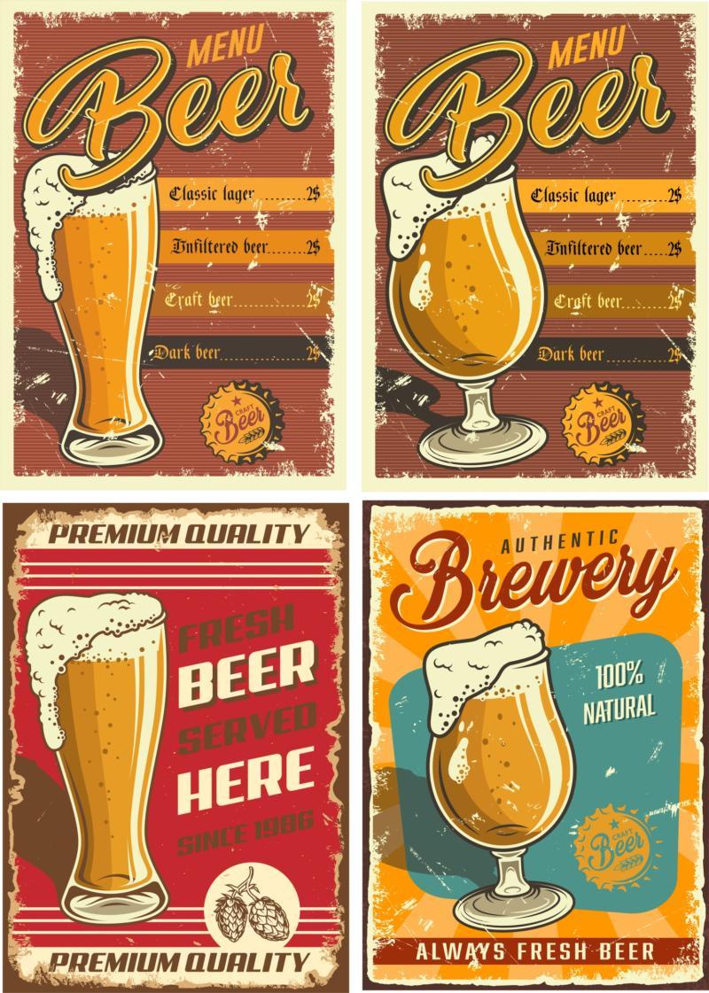 Retro Beer Posters 2 Free CDR Vectors Art