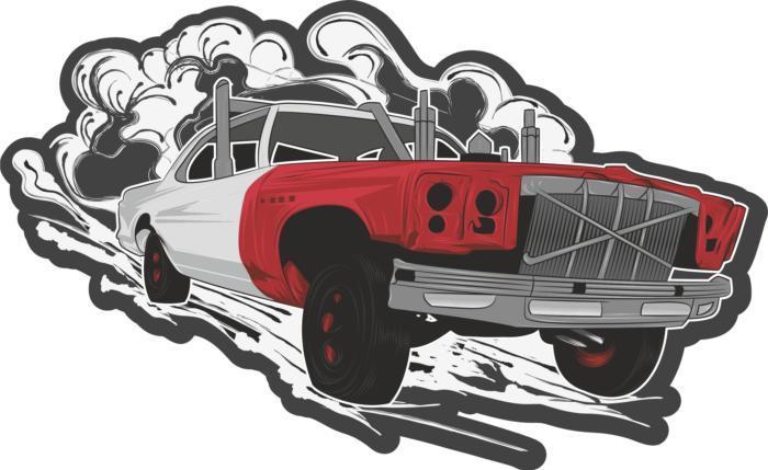 Hotrod Car Sticker Free CDR Vectors Art