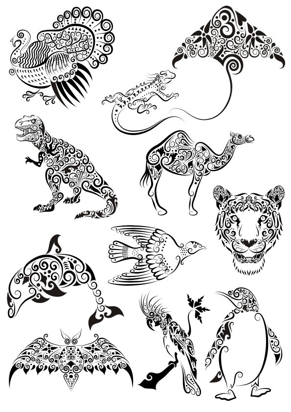 Ornament Animals Tattoo Vectors Pack Free CDR Vectors Art