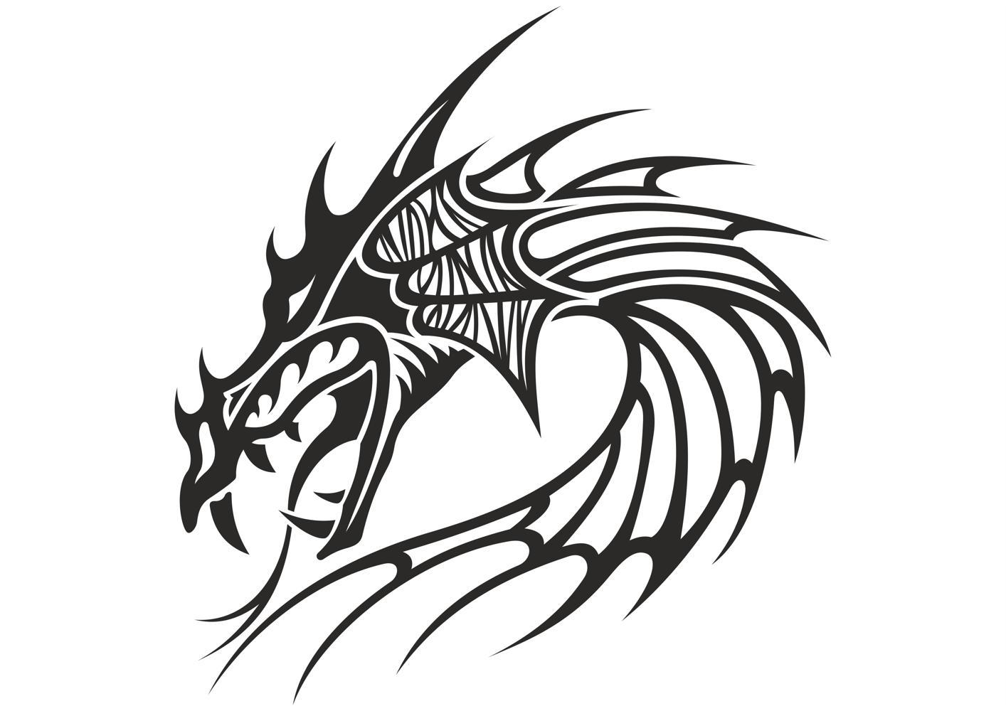 Chinese Dragon Head Tattoo Free CDR Vectors Art