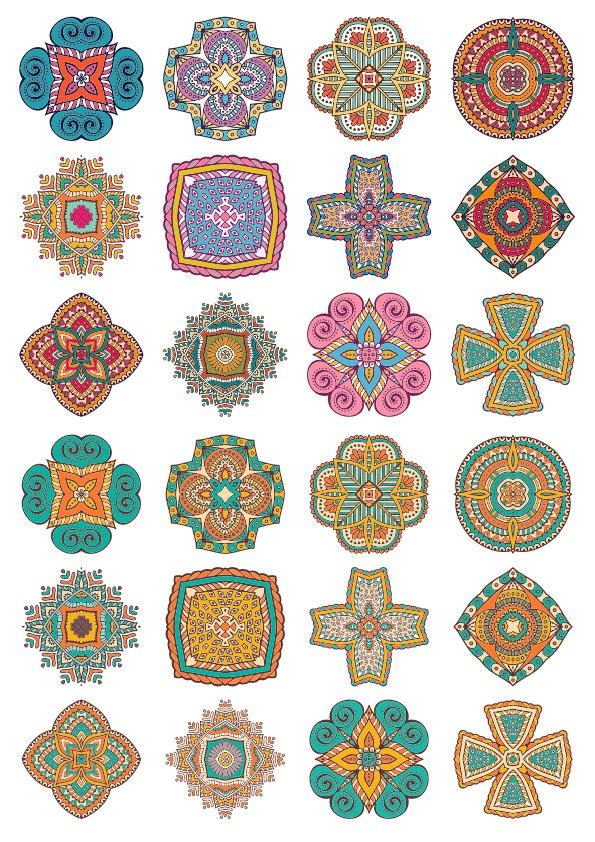 Set of Round Ornaments Mandala Free CDR Vectors Art