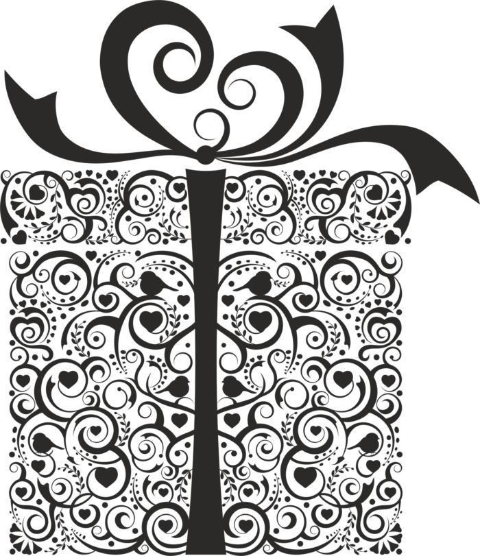 Ornament Gift Box Free CDR Vectors Art