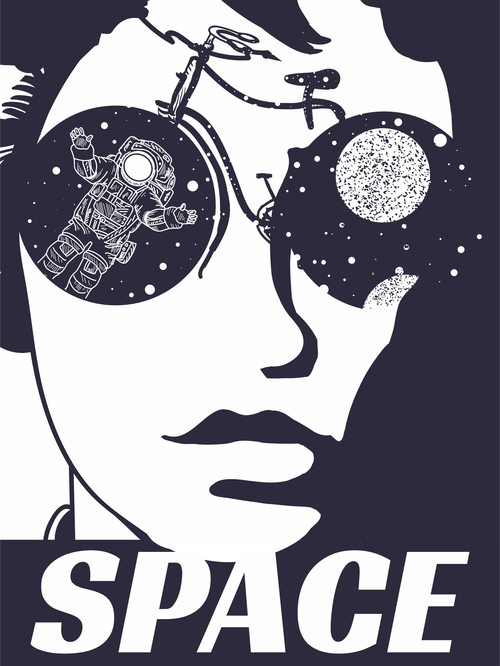 Woman Face Space Print Free CDR Vectors Art