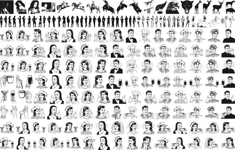 People Mix Lineart Pack Free CDR Vectors Art