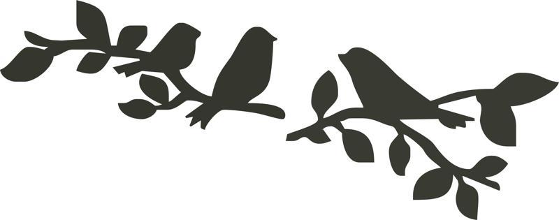 Birds sitting on branch silhouette Free CDR Vectors Art