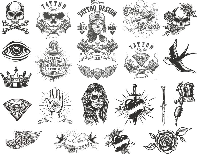 Tattoo Compositions Pack Free CDR Vectors Art