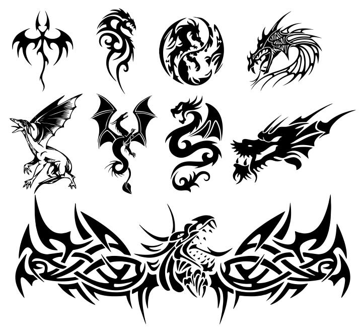 Dragon Tattoo Free CDR Vectors Art