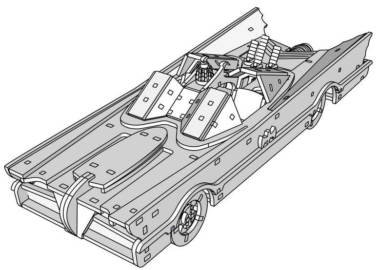 Batmobile 3d puzzle Free CDR Vectors Art