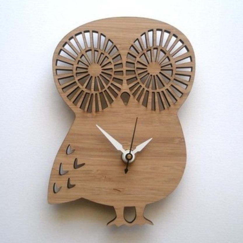 Laser Cut Owl Shape Clock Free CDR Vectors Art