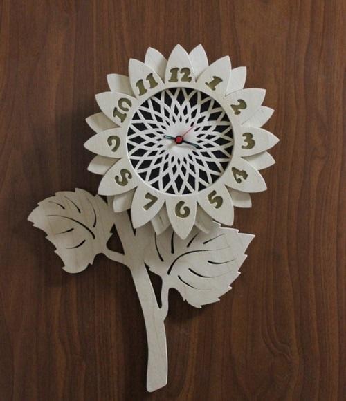 Flower Design Decorative Wall Clock Free CDR Vectors Art