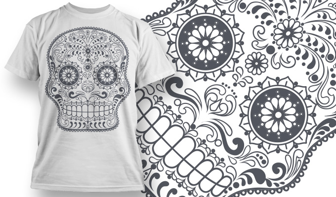 Sugar Skull T-Shirt Design Free CDR Vectors Art