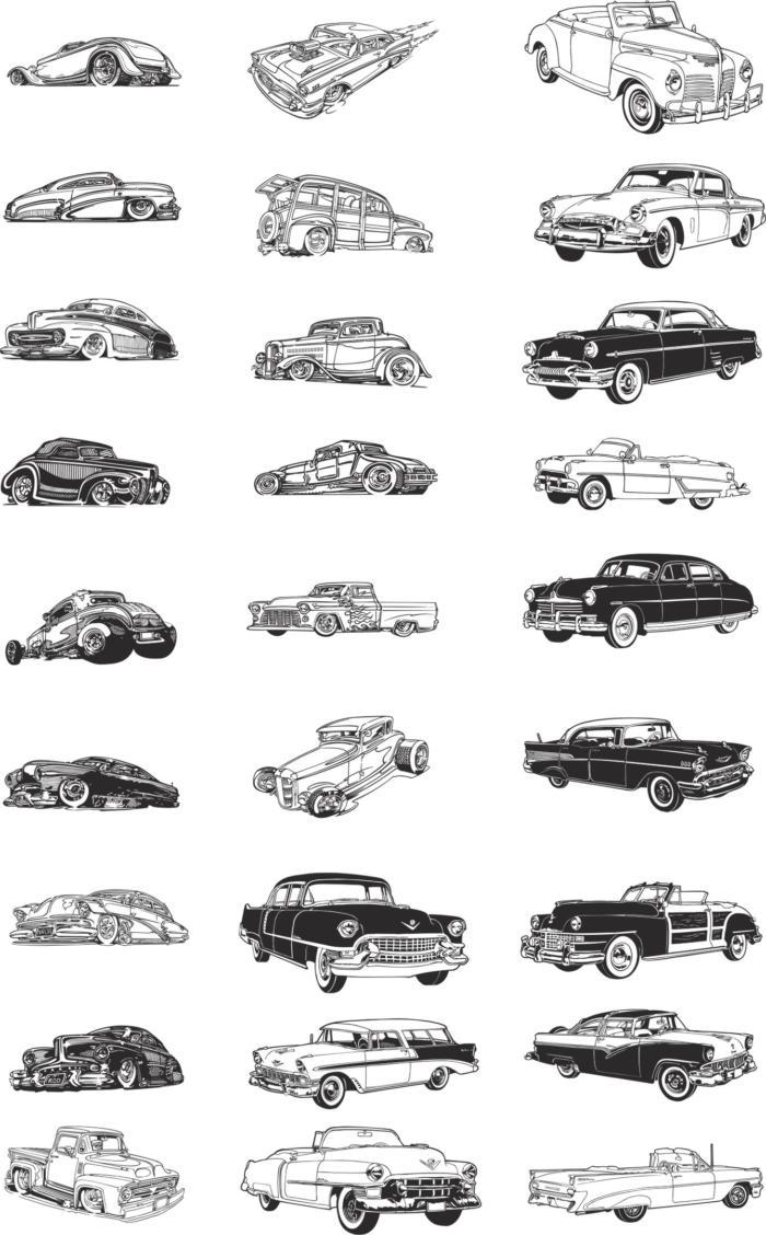 Retro Cars Free CDR Vectors Art