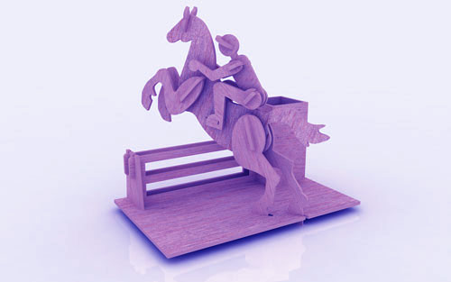 Horse Riding Pen Holder Stand 3mm Free CDR Vectors Art