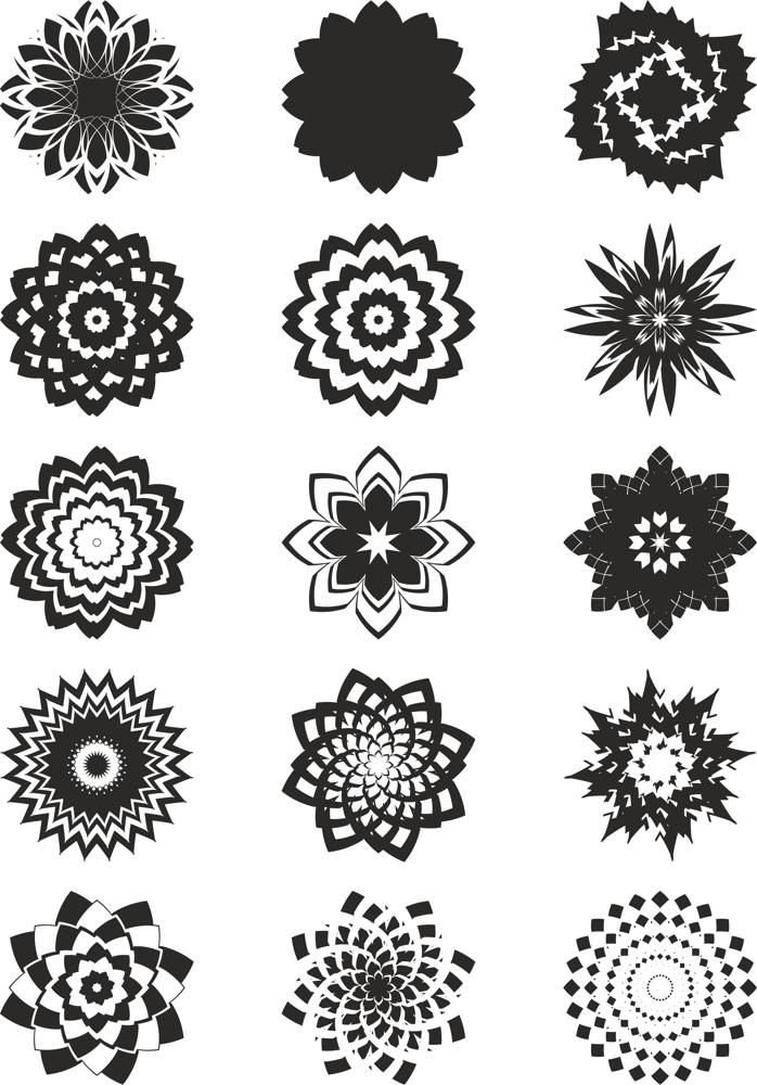 Abstract Flowers Free CDR Vectors Art
