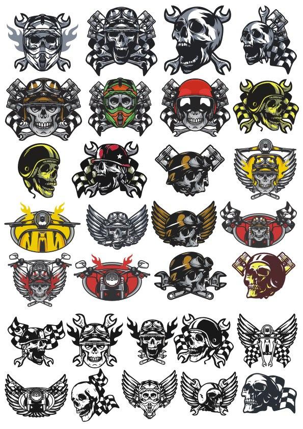 Skull In Motorcycle Helmet Vector Pack Free CDR Vectors Art