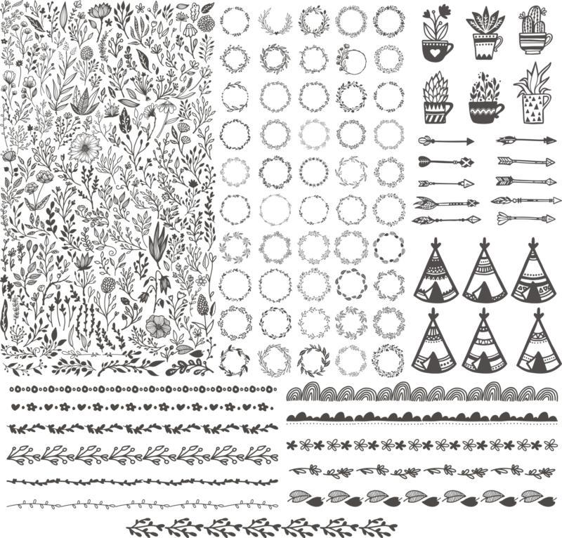Floral Kit Handdrawn Free CDR Vectors Art