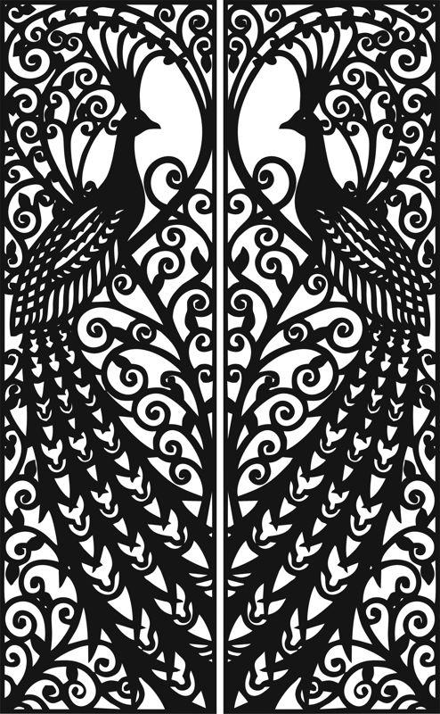 Laser Cut Door Design Peacock Free CDR Vectors Art