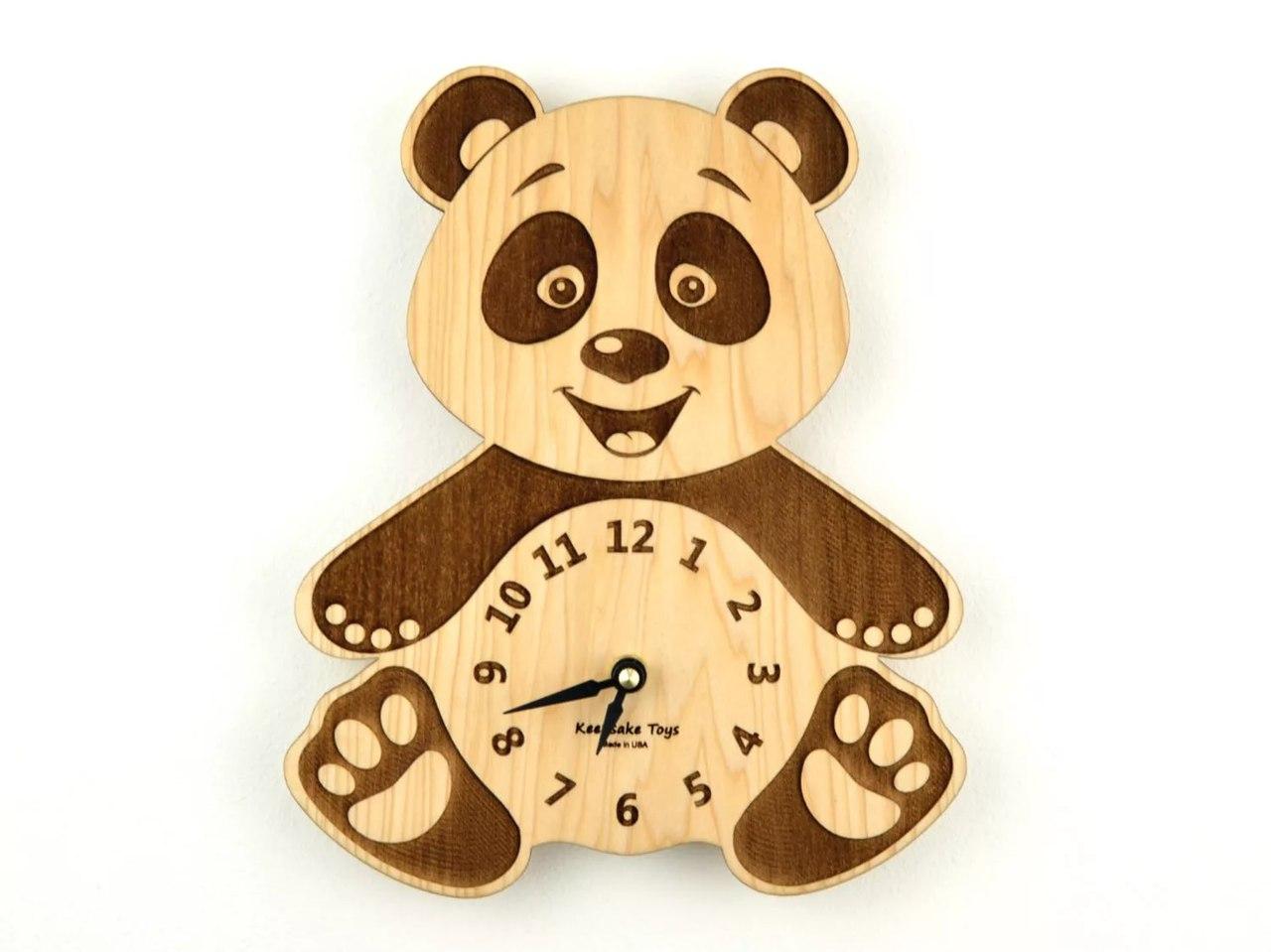 Panda Clock 3D Puzzle Laser Cut Free CDR Vectors Art