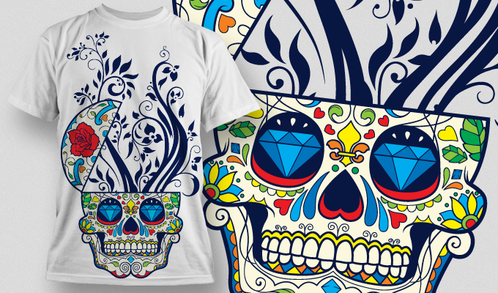 Designious Sugar Skull T shirt Design Free CDR Vectors Art