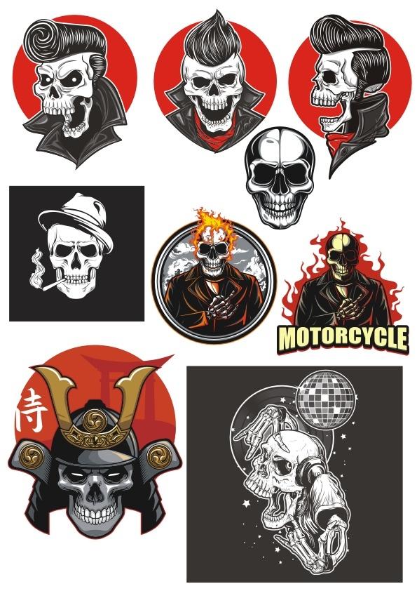 Skulls Vector Set Free CDR Vectors Art