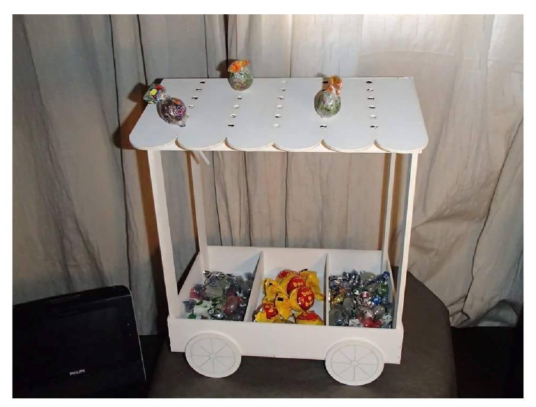 Candy Cart Lasercut 3D Puzzle Free CDR Vectors Art