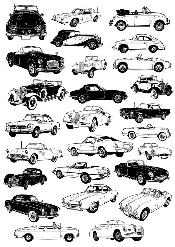 Classic Car Free CDR Vectors Art