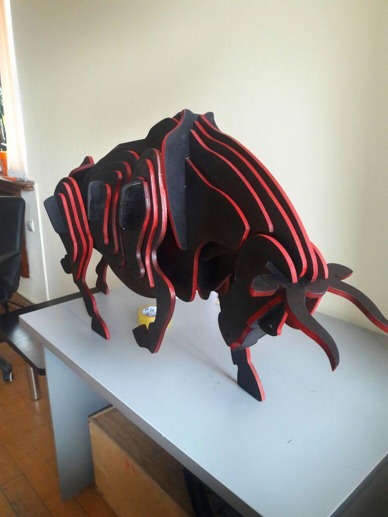 3D Wooden Bull Puzzle 6 mm Free CDR Vectors Art