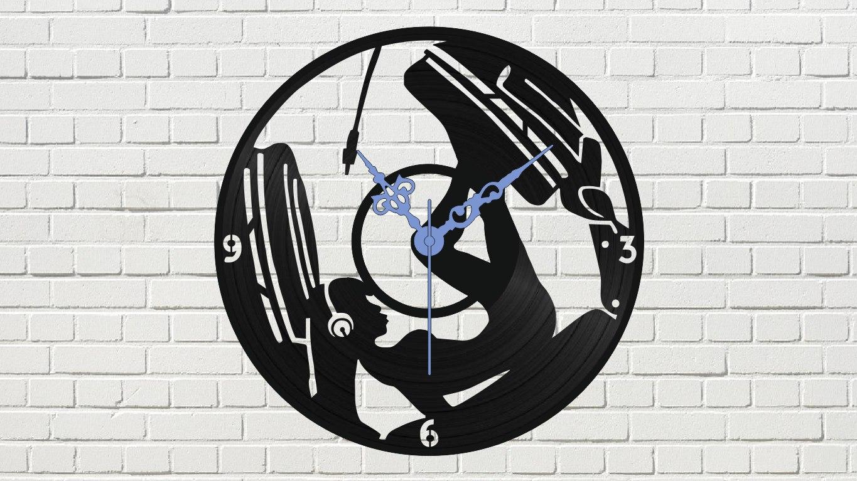 Devushka V Naushnikakh Vinyl Record Wall Clock Free CDR Vectors Art