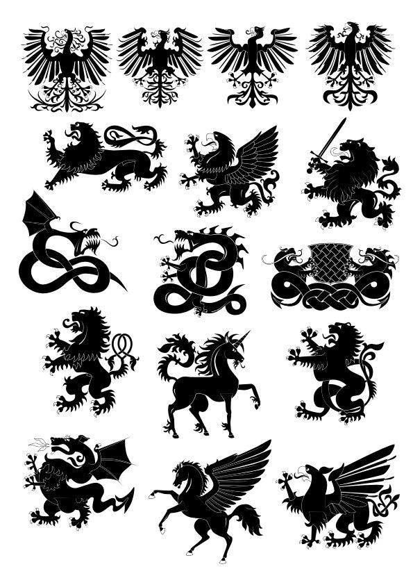 Heraldry animals vector set Free CDR Vectors Art