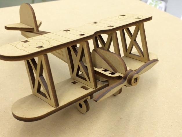 Bi Plane 0.125in Wooden Toy Airplane Laser Cut Free CDR Vectors Art