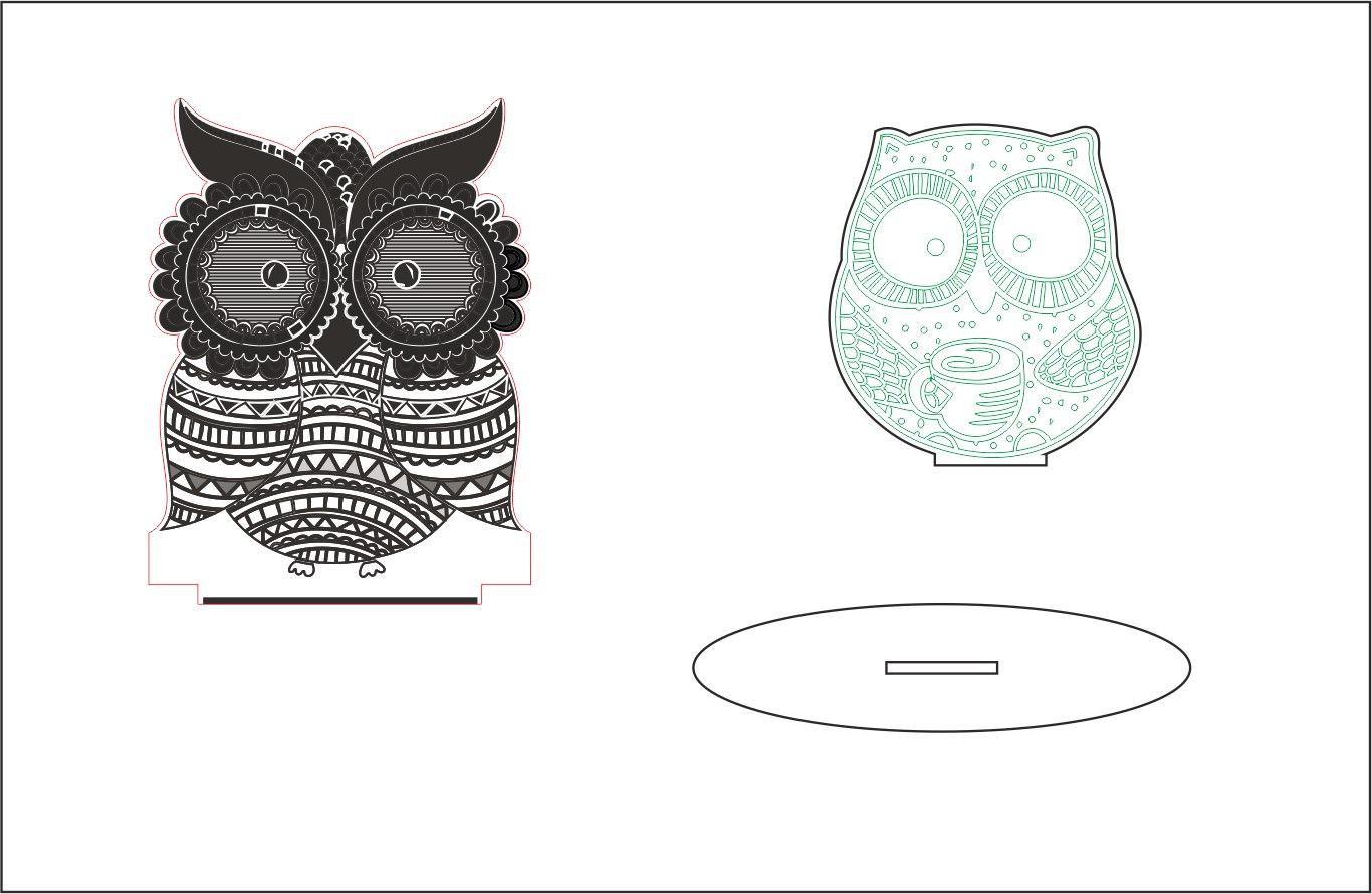 Sleepy-eyed Owl Night Light Free CDR Vectors Art