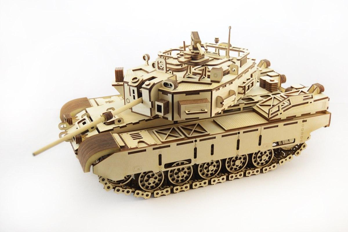 3D Wood Tank Puzzle Kit Engraved Laser Cut Free CDR Vectors Art