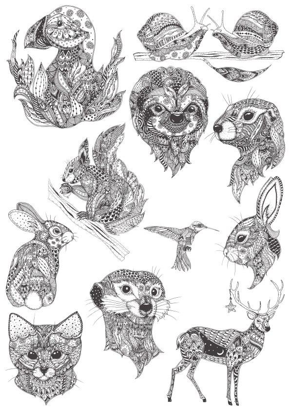 Ornamental animals in boho style Free CDR Vectors Art